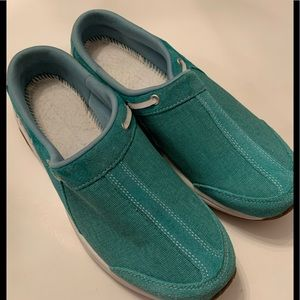 Teal and White Boat Shoes Size 9